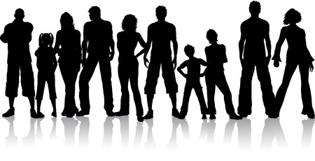 kind silhouet: Silhouet van een grote groep mensen