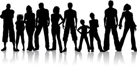 silueta masculina: Silueta de un gran grupo de personas  Foto de archivo
