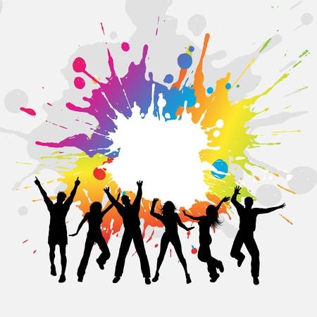 feste feiern: Silhouetten von einer Gruppe von Menschen tanzen auf Grunge hintergrund  Lizenzfreie Bilder