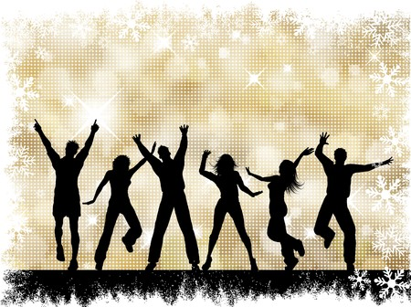 Silhouettes of people dancing on a golden snowflake halftone background photo
