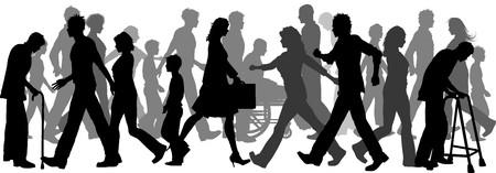 discapacidad: Silueta de una gran multitud de personas caminando