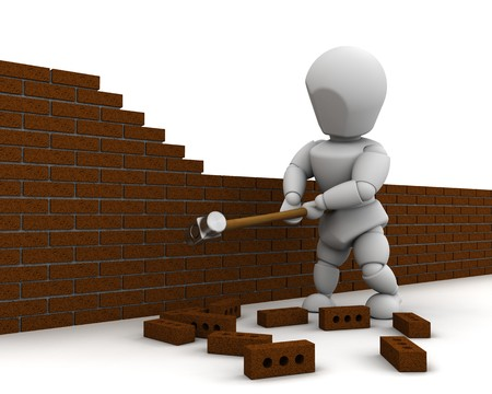 dismantling: 3D render of a man demolishing a wall with a sledge hammer Stock Photo