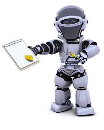 3D render of a robot  with clipboard Stock Photo - 7825405