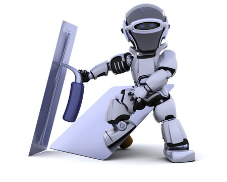 3D render of a robot  with plastering tools Stock Photo - 7825399