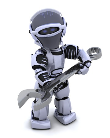 spanner: 3D render of a robot  with open ended spanner