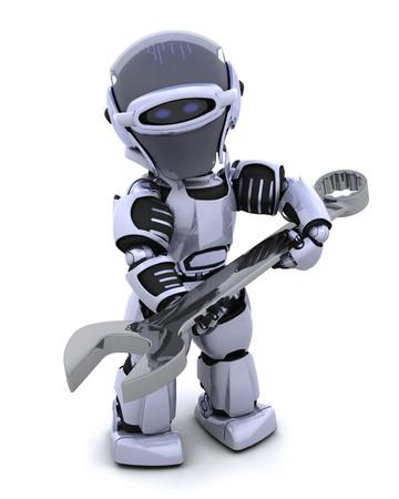 3d render: 3D render of a robot  with open ended spanner