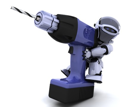 3D render of a robot  with drill Stock Photo - 7825397