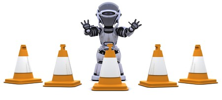 3D render of a robot  with traffic cones Stock Photo - 7825398