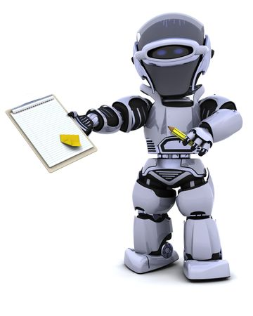 3D render of a robot  with clipboard Stock Photo - 7825427