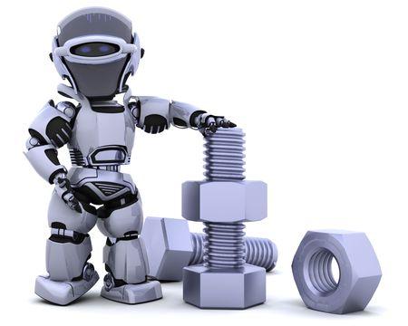 tuercas y tornillos: 3D de procesamiento de un robot con tuercas y pernos