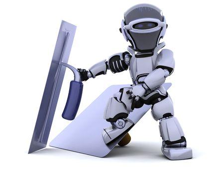 plasterer: 3D render of a robot  with plastering tools