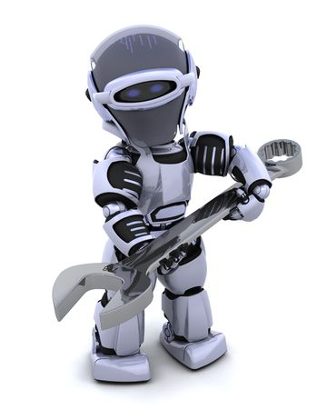 3D render of a robot  with open ended spanner Stock Photo - 7825425