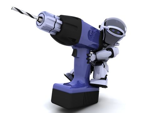 3D render of a robot  with drill Stock Photo - 7825419