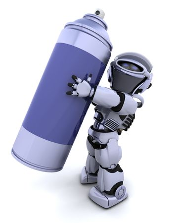 aerosol can: 3D render of a robot  with spray can