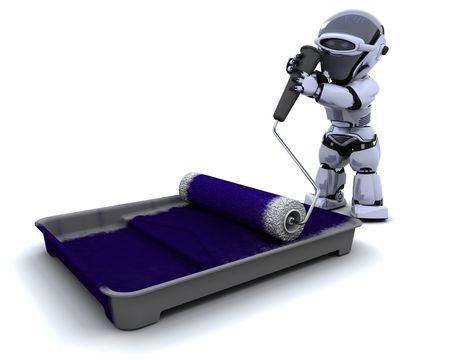 3D render of a robot  with roller and paint tray photo