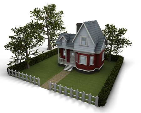 3D render of a traditional timber house with garden