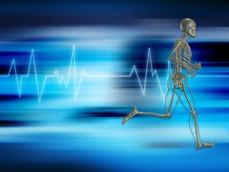 electrocardiograma: Esqueleto de ejecución sobre un fondo que muestra la frecuencia cardíaca  Foto de archivo