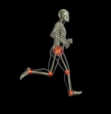 3D render of a skeleton running with leg joints highlighted Stock Photo - 7825435