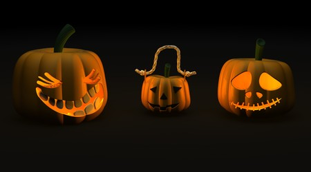 3D render of spooky halloween jack-o-lantern pumpkins photo
