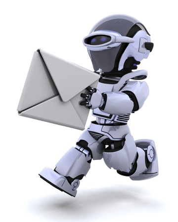 3D render of robot running with an envelope Stock Photo - 7862787