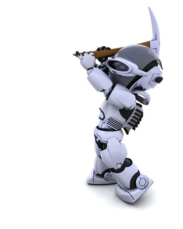 pickaxe: 3D render of robot with pick axe