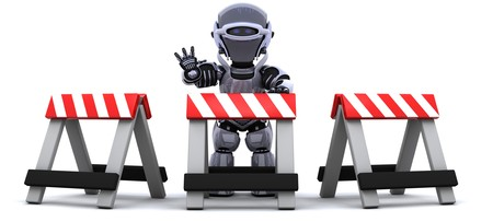 barrier: 3D render of robot behind a barrier