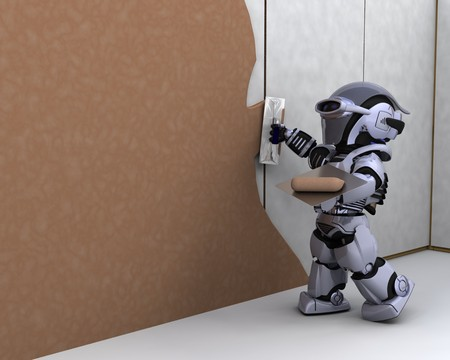 3D render of robot robot contractor building a drywall Stock Photo - 7862793