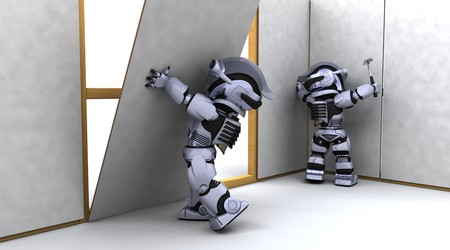 plasterboard: 3D render of robot robot contractor building a drywall Stock Photo