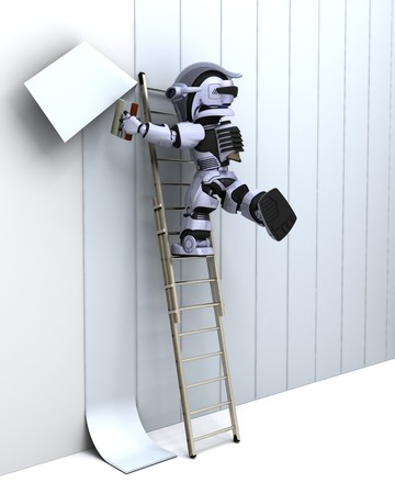 3D render of robot decorating a wall photo