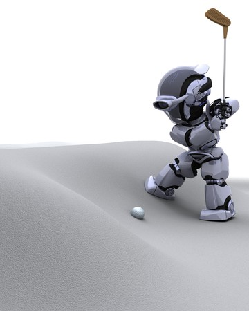 3D render of robot with club playing golf photo