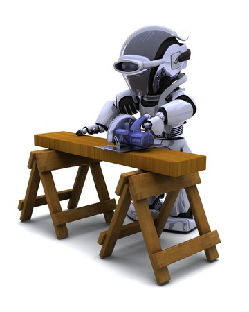 render 3d: 3D render of robot with power saw cutting wood Stock Photo