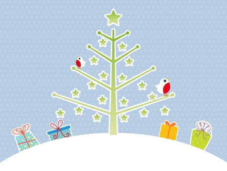 Cute Christmas tree background with robin red breast and gifts photo