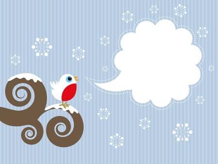 robin bird: Cute Christmas background with robin and blank speech bubble