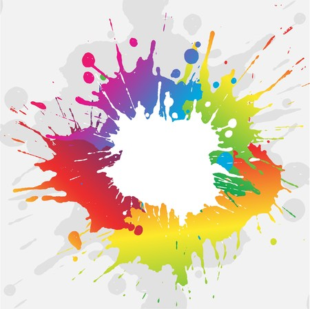 splatter paint: Abstract grunge background with brightly coloured paint splatters Stock Photo