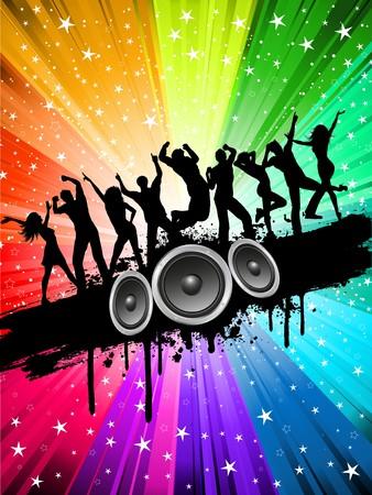 disco parties: Siluetas de personas bailando en un fondo de color de multi estrellado