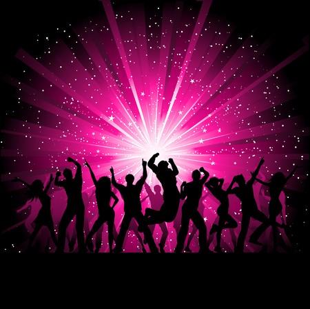 gente bailando: Silhoeuttes de personas bailando en un fondo de brote estelar