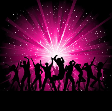 disco girls: Silhoeuttes of people dancing on a starburst background