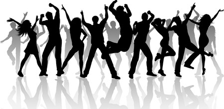 Silhouette of a large group of people dancing on a white background photo