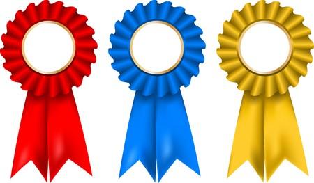 escarapelas: Una colecci�n de rosetas de rojos, azules y oro