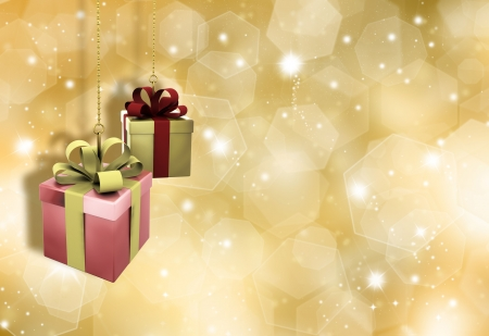 Hanging Christmas gifts on a glittery gold Christmas background Stock Photo - 7996205