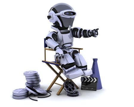 3D render of a robot with megaphone and directors chair Stock Photo - 7996200