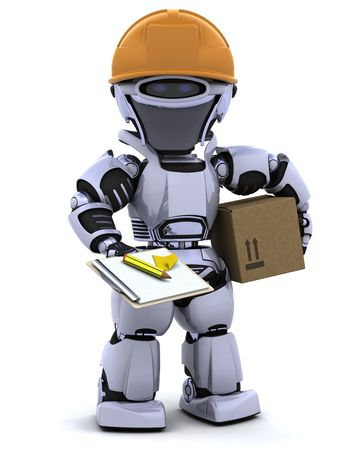 3D render of a robot robot in hardhat with clipboard Stock Photo - 7996199