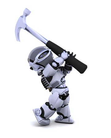 3D render of robot with claw hammer Stock Photo - 7996193