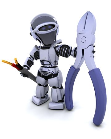 cute robot: 3D render of robot with wire cutters and cable Stock Photo