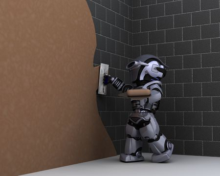 3D render of robot robot contractor plastering a wall Stock Photo - 7996209