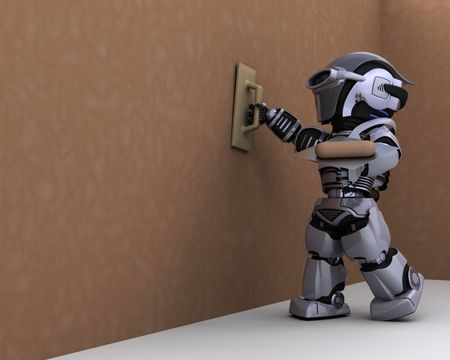 3D render of robot contractor plastering a drywall Stock Photo - 7996196