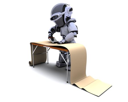 3D render of robot decorating with wallpaper Stock Photo - 7996195