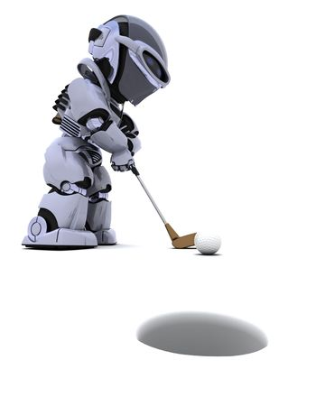 3D render of robot with club playing golf Stock Photo - 7996194