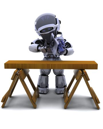 3D render of robot with power saw cutting wood Stock Photo