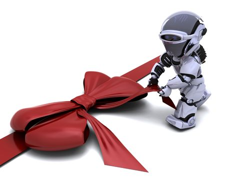 3D render of robot with gift bow Stock Photo - 7996197